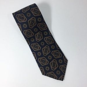 Christian Dior Navy Blue Geometric Silk Necktie